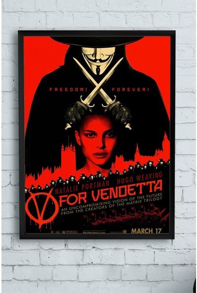 Postermanya V For Vendetta Film Afişi Çerçeveli Tablo 17 21 x 30 cm