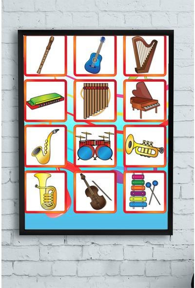 Postermanya Müzik Aletleri Eğitim Çerçeveli Tablo 21 x 30 cm