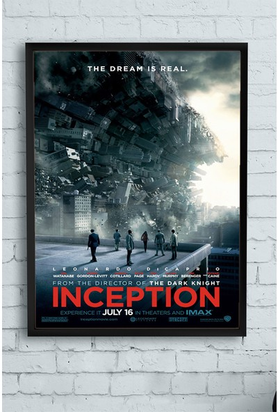 Postermanya Inception-Başlangıç Film Afişi Çerçeveli Tablo 2 21 x 30 cm