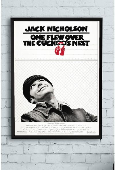 Postermanya One Flew Over the Cuckoos Nest-Guguk Kuşu Film Afişi Çerçeveli Tablo 21 x 30 cm