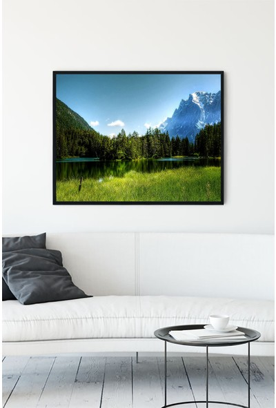 Postermanya Yeşil Doğa Manzara Çerçeveli Tablo 21 x 30 cm