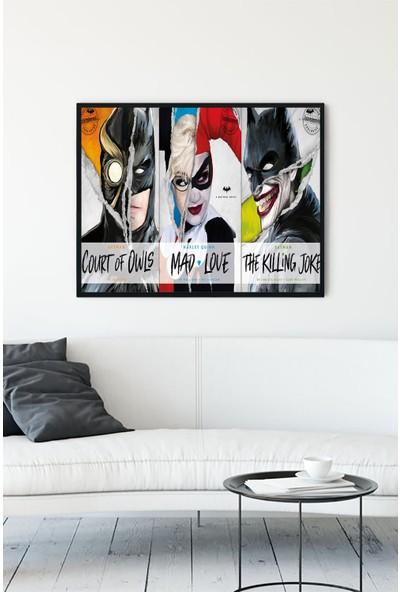 Postermanya Batman Harley Quinn Joker Film Afişi Çerçeveli Tablo 21 x 30 cm