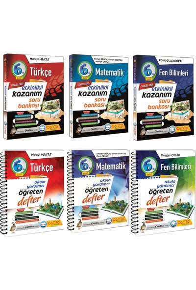 Çanta Yayınları 6. Sınıf Kazanım Türkçe Matematik ve Fen Bilimleri Soru Bankası ve Defter Seti