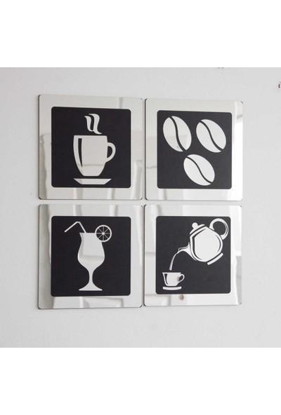Meşgalem 4 Parça Gümüş Duvar Mutfak Süsü Tablosu