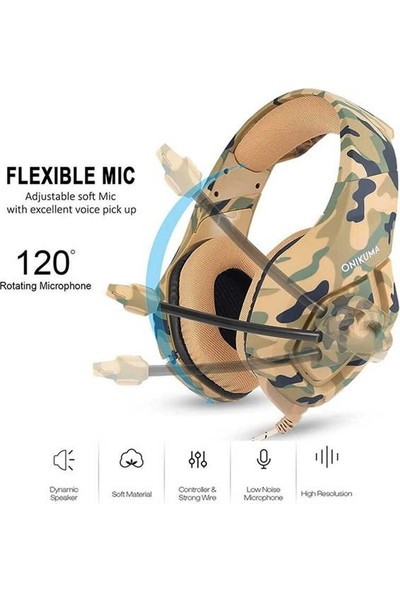 Onikuma K1B Pro Profesyonel Oyuncu Kulaklığı Kablolu 3.5 mm Kamuflaj