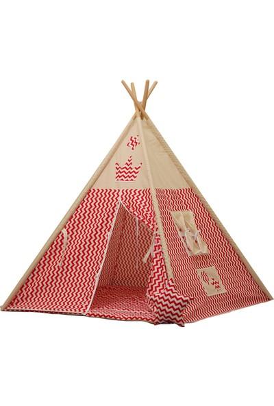 Henna Kırmızı Zigzaglı Kızıldereli Çocuk Oyun Çadırı