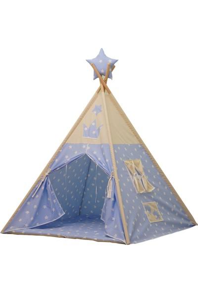 Henna Mavi Beyaz Yıldızlı Kızıldereli Çocuk Oyun Çadırı
