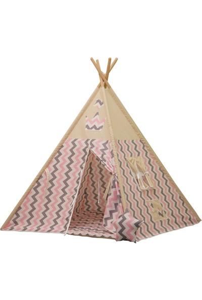 Henna Pembe Gri Zigzaglı Kızıldereli Çocuk Oyun Çadırı