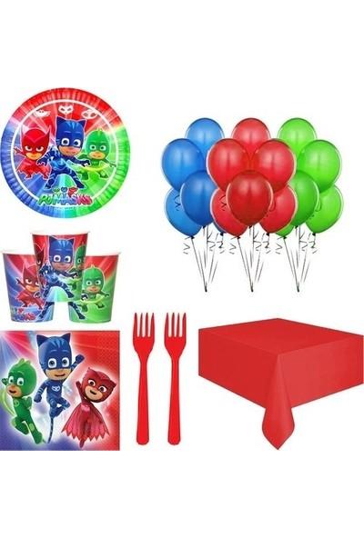 Tuğra Pijamaskeliler 8 Kişilik Doğum Günü Malzemesi Parti Seti Paketi