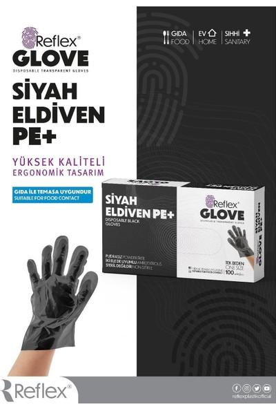 Reflex Glove Siyah Eldiven Pe+ 100' Lü Tek Kullanımlık