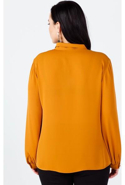 Ekol Kadın Safran Kravat Yaka Bluz 20K.EKL.BLZ.02515.1