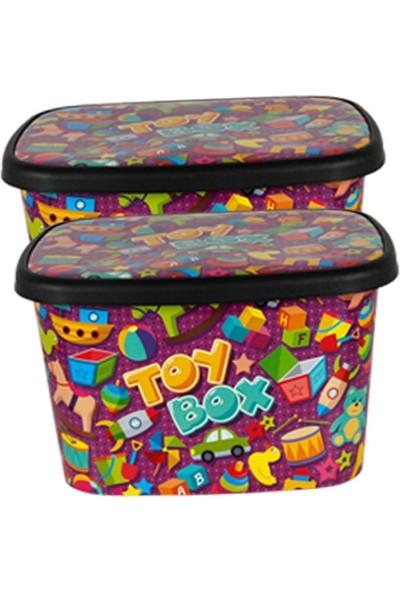 Asfar Oyuncak Saklama Kutusu Toybox 2'li Büyük Set 50 lt