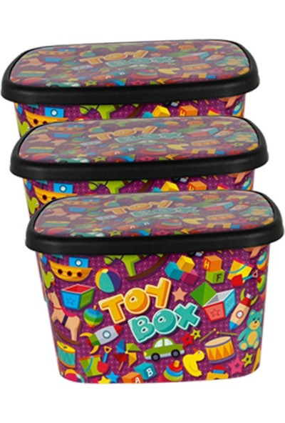 Asfar Oyuncak Saklama Kutusu Toybox 3'lü Büyük Set 25 lt