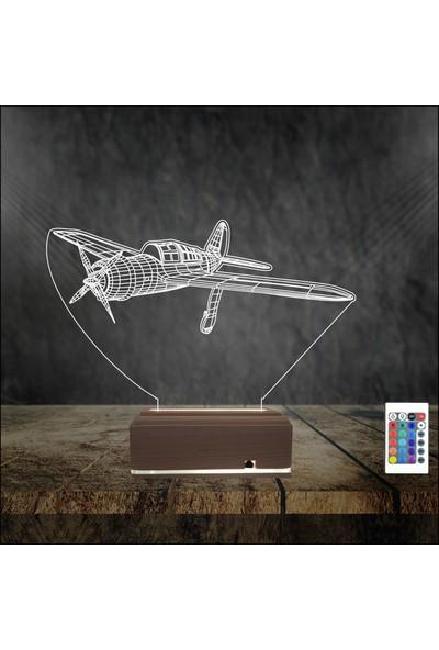 Algelsin 3 Boyutlu LED Gece Lambası Uçak Modelli 16 Renkli Masa Lambası