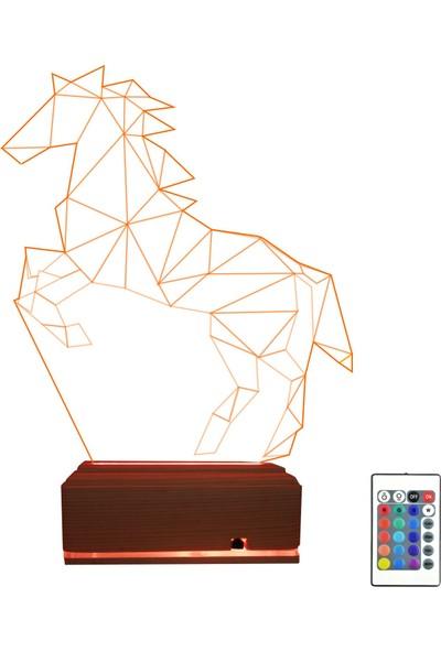 Algelsin 3 Boyutlu Gece Lambası At Modelli 16 Renkli Masa Lambası