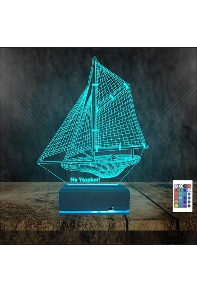 Algelsin Gece Lambası Kişiye Özel Yelkenli Gemi Modelli Masa Lambası