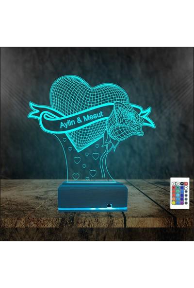 Algelsin Gece Lambası Kişiye Özel Sevgiliye Gül Modelli 16 Renkli Masa Lambası