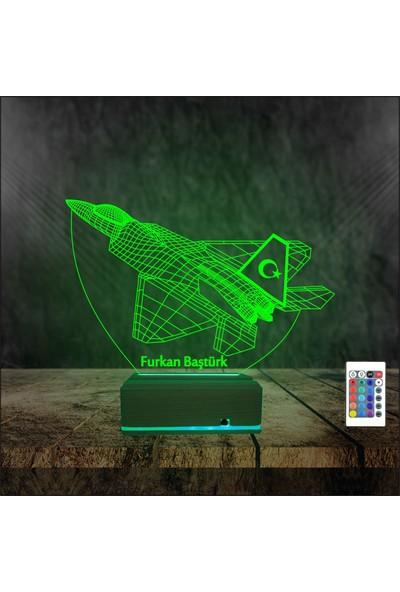 Algelsin 3 Boyutlu Kişiye Özel Isimli Gece Lambası Jet Uçak Masa Lambası