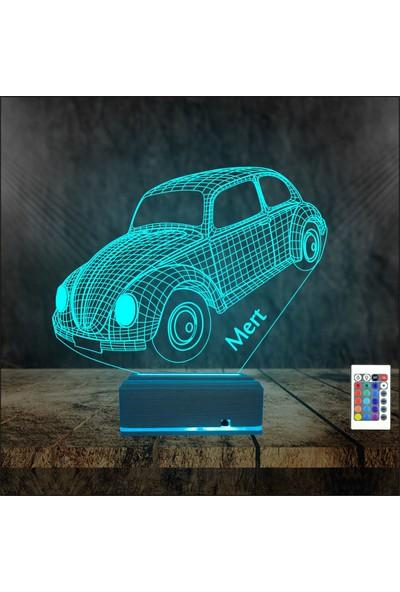 Algelsin 3 Boyutlu LED Gece Lambası Kişiye Özel Arabalı Masa Lambası