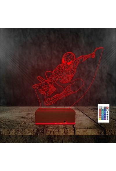 Algelsin 3 Boyutlu LED Gece Lambası Örümcek Adam Tasarımlı 16 Renkli Masa Lambası
