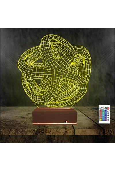 Algelsin 3 Boyutlu LED Gece Lambası Geometrik Tasarımlı Masa Lambası