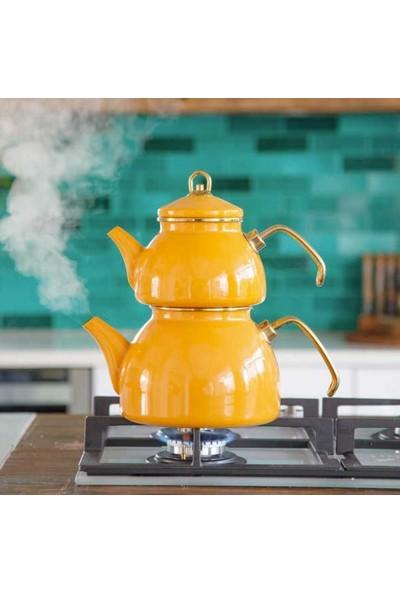 Qedi Emaye Sarı Çaydanlık Kilitli Kapaklı 3 Parça