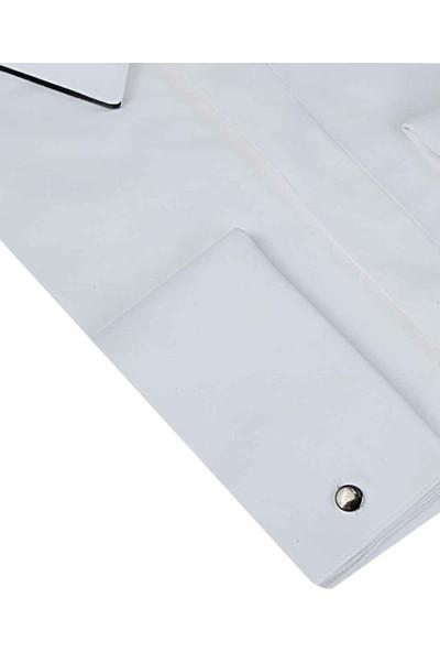 Twn Slim Fit Beyaz Düz Smokin Gömlek
