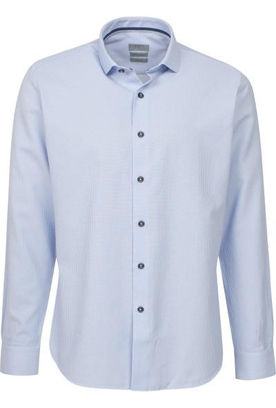 Twn Slim Fit Mavi Çizgili Gömlek