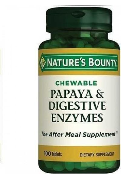 Nature's Bounty Papaya - Sindirim Enzimi (çiğnenebilir) - 100 Tablet