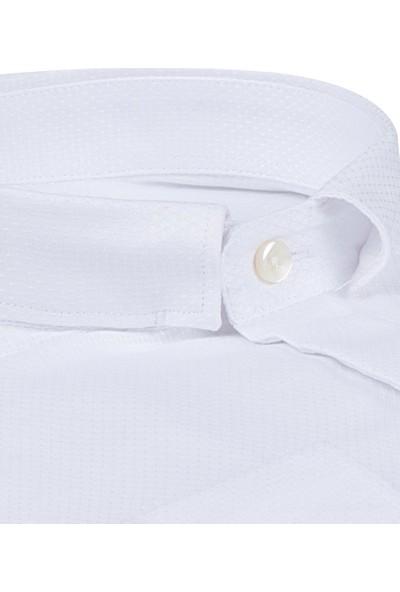Twn Slim Fit Beyaz Armürlü Gömlek