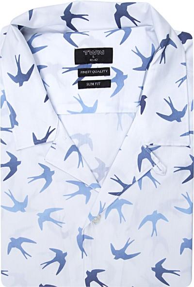 Twn Slim Fit Beyaz Baskılı Gömlek