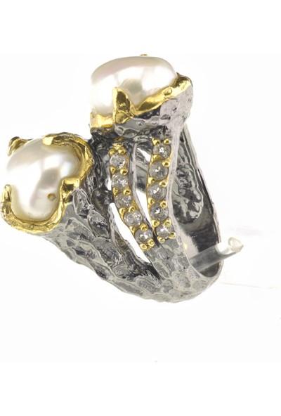 Elegans Kadın Gümüş Yüzük Doğal Sakız Incisi Taş Elişi