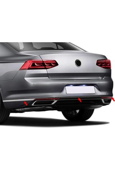 S-Dizayn VW Passat B8.5 Krom Arka Tampon Alt Çıtası 3 Parça 2019 ve Üzeri S-Dizayn