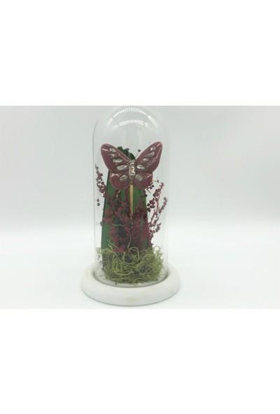 Afloday Kelebekli Çiçek Tasarımlı Cam Fanus