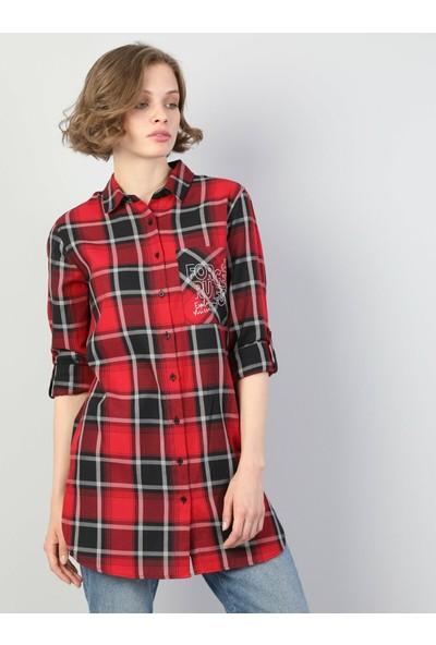 Colins Regular Fit Shirt Neck Kadın Kırmızı Uzun Kol Gömlek