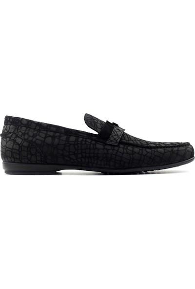 Carfier 2071 267 Sade Rok Erkek Ayakkabı-Siyah Kroko Nubuk
