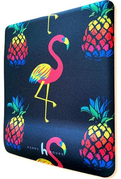 Happy Hours Flamingo ve Ananas Bilek Destekli Mouse Pad Kare - Happy Hours