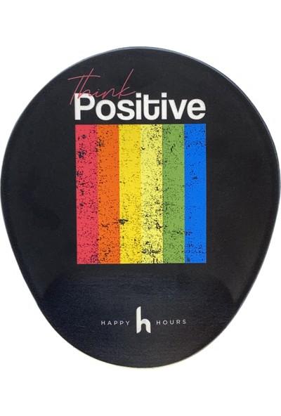 Happy Hours Pozitif Düşün Bilek Destekli Mouse Pad Oval - Happy Hours