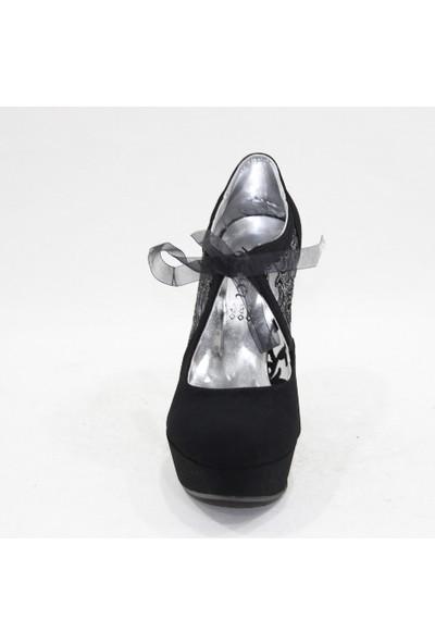 Arıcı 105 Siyah Süet Bağlamalı Açık Abiye Platform Ayakkabı