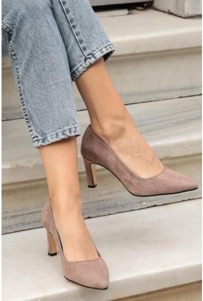 Mio Gusto Lita Vizon Süet Topuklu Ayakkabı