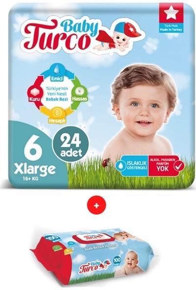 Baby Turco 6 Numara Bebek Bezi 16+ kg x lrge 24 + Islak Havlu 100 Yaprak
