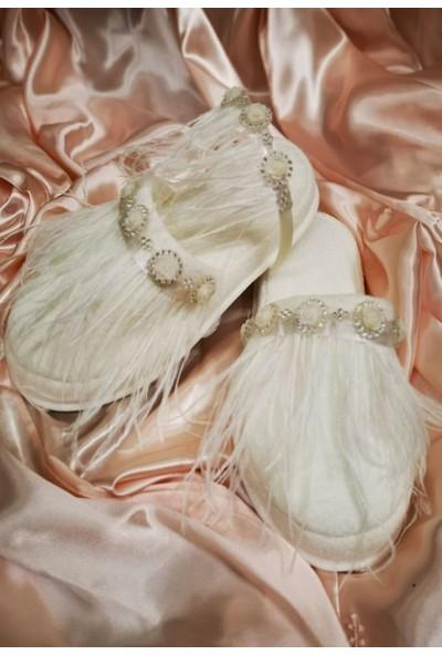 Asimod Bride Tüylü Terlik Set