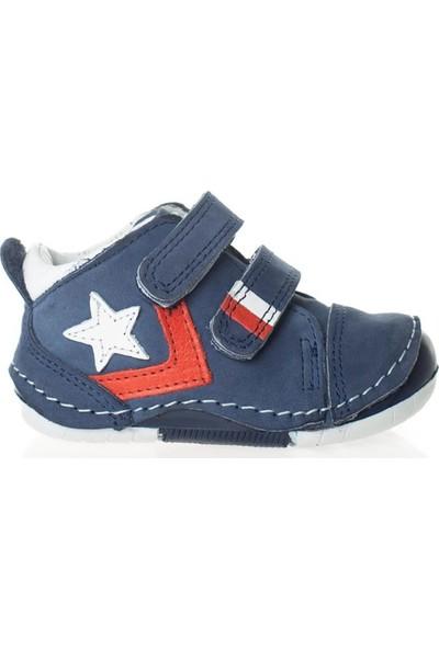 Wstark Kışlık Deri Yıldızlı Lacivert Erkek Bebek İlk Adım Ayakkabısı
