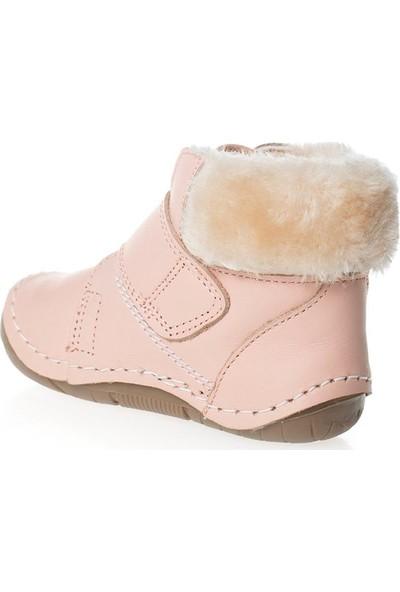 Wstark Kışlık Deri Kürklü Pudra Kız Bebek İlk Adım Ayakkabısı