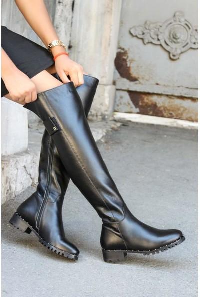 Fast Step Deri Kadın Diz Üstü Çizme 064YZA621