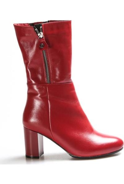 Fast Step Deri Kadın Yüksek Topuk Çizme 064SZA531
