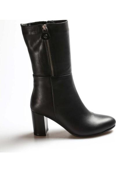 Fast Step Deri Kürklü Kadın Yüksek Topuk Çizme 064KZA531