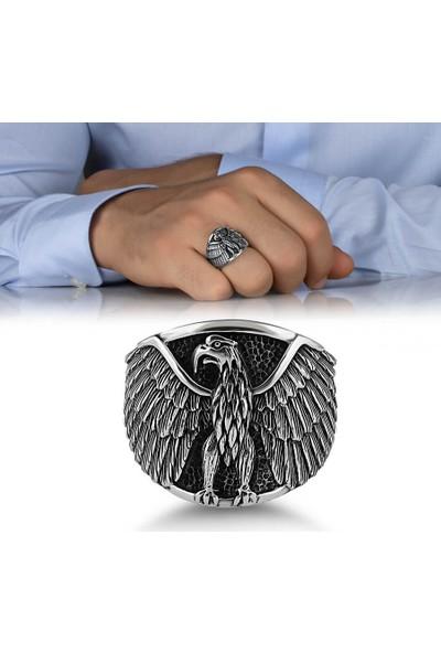 Anı Yüzük Kızgın Kartal Motifli Taşsız Gümüş Erkek Yüzük