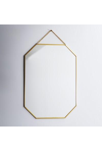 El Crea Designs Ayna Pirinç Gold Brass Dekoratif Duvar Askılı 28 x 20 cm