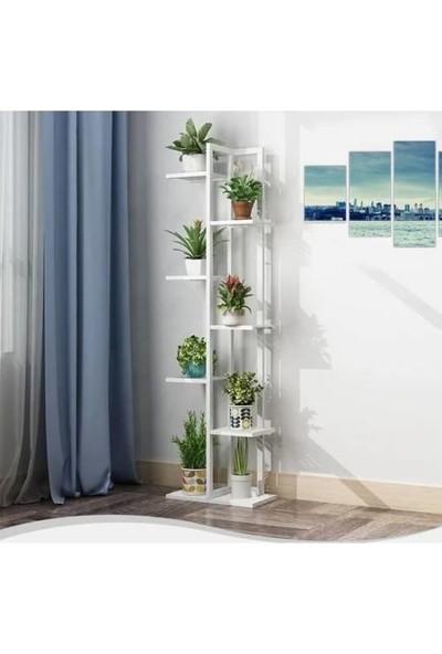 New Home Decor Dekoratif Metal Gövdeli 7 Bölmeli Beyaz Ahşap Çiçeklik